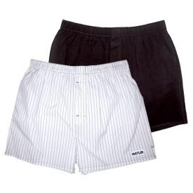 Комплект из 2 мужских трусов-шортов: чёрных и белых в полоску