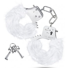 Белые игровые наручники Plush Fur Cuffs