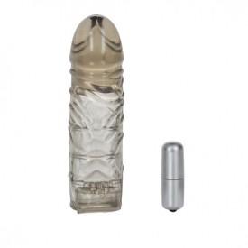 Дымчатая удлиняющая насадка с вибропулей Extend it Up! - 12,75 см.
